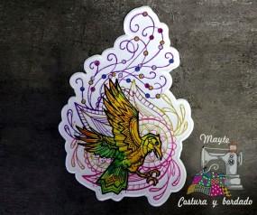 Parche pájaro multicolor