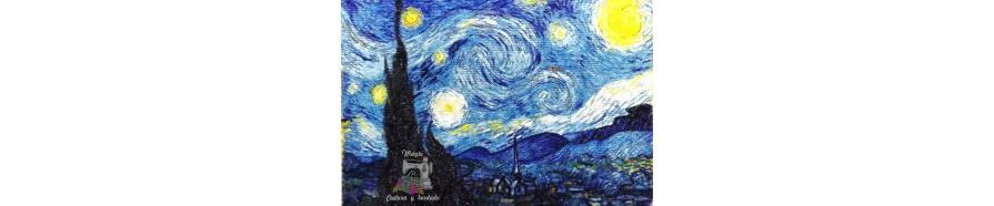 cuadro bordado, fotografias bordadas, bordando un Van-Gogh