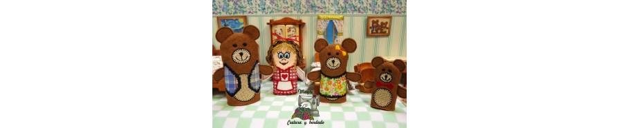 marionetas fieltro, marionetas cuento, marionetas dedo, Ricitos de oro